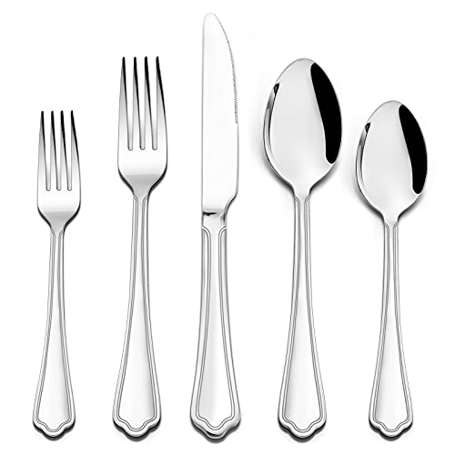 40 Pieces Silverware Flatware Set for 8, HaWare Durable Stainless Steel Cutlery Eating Utensils Sets, Elegant Traditional Style for Home/Hotel, Dishwasher Safe(Scalloped Edges)
