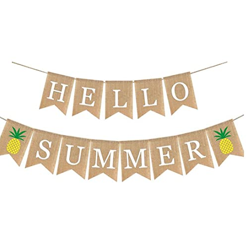 Party Decoration Set Burlap Banner for Summer Beach Pool Party Birthday Wedding Party Photo Backdrop Pineapple Pattern