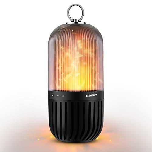 ELEGIANT LED Bluetooth luidspreker, draagbare draadloze LED C10 luidspreker 5W stereo vlam IP65 waterdicht speaker boombox met 60 LEDs vlammen lamp voor kamperen picknick decoratie Kerstmis