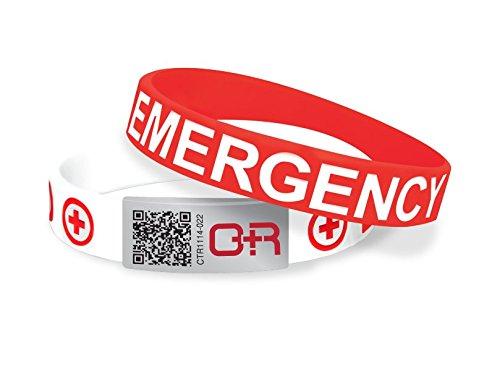 Anamnestici I.D. Band–rapido accesso alle tue informazioni mediche essenziali–rosso/bianco–AEB072