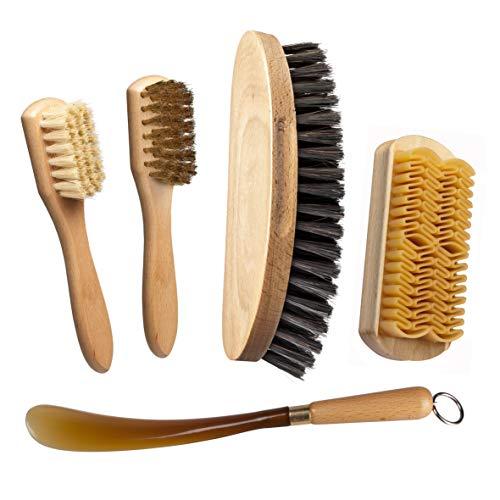 Juego limpieza y cuidado del calzado. Cepillo con mango y cerdas + Cepillo en latón para gamuza + Cepillo con goma para nobuck + Cepillo grande cabello rubio + Calzador. Made in Italy. Botas Emu y Ugg
