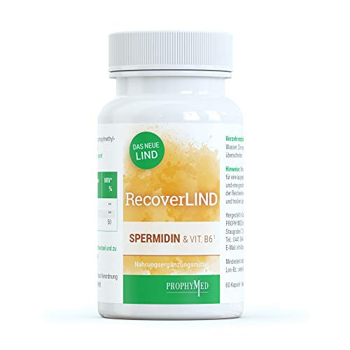 RecoverLIND Spermidin Kapseln hochdosiert (60 Kapseln) - unterstützt die normale Funktion des Immunsystems, Kur mit Vitamin B6, Putrescin & Spermin, sorgt für eine normale Immunantwort, vegan