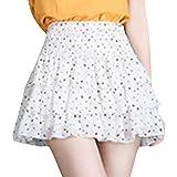 SOMTHRON Falda de verano para mujer, de gasa, con volantes, estilo boho, línea A, plisada Blanco Talla única