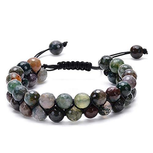 ZUOLUO Armband aus Naturstein Armbänder für Damen 6mm Perlenarmband Indischer Achat Perlen Armreif 8mm Perlenarmband Naturstein Perlen Armreif 1