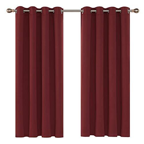 Deconovo Cortinas de Salón Térmicas Aislantes Frío y Calor para Habitación Modernas Suaves con Ollaos 2 Piezas 117 x 138 cm Rojo Oscuro