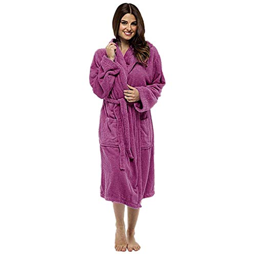 STRIR Invierno Señoras Robe Luxury Terry Toweling algodón Bata Albornoz Mujeres Altamente Absorbente Mujeres con Capucha y Shawl Towel baño Abrigo (S, Rosa roja)