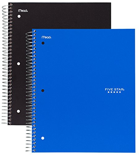 """Five Star Spiral Notebooks, 3 Subject, Wide Ruled Paper, 150 Sheets, 10-1/2"""" x 8"""", Black, Blue, 2 Pack (73033)"""
