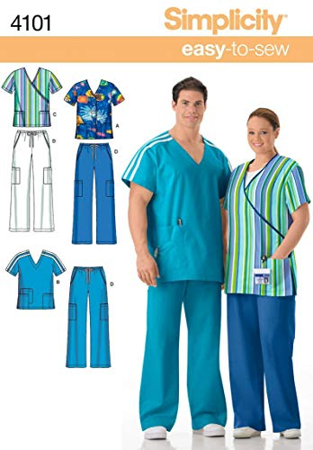 Simplicity Easy To Sew Men and Women's Scrubs Sewing Pattern, Sizes S-L