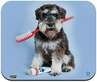Mouse Mat, Schnauzer Puppy Dog with Toothbrush Dentist Low Profile Thin Mouse Pad 16 x 24 Inch Mousepad, Gaming Mouse Pad