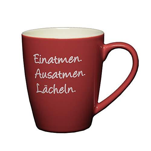 Lepajo Kaffeetasse mit Spruch: Einatmen. Ausatmen. Lächeln. Farbenfrohe Tasse, Kaffeetasse oder Teetasse, Geschenk-Tasse (Rot)