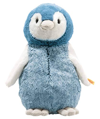 """Steiff 63961 Original Plüschtier Pinguin Soft Cuddly Friends Paule, Kuscheltier ca. 30 cm, Markenplüsch Knopf im Ohr"""", Schmusefreund für Babys von Geburt an, blau, weiß"""