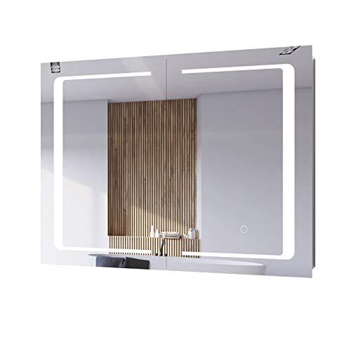 Spiegelschrank Edelstahl fürs Bad Hängeschrank mit LED Beleuchtung Badschrank Badezimmerschrank Doppelspiegel mit Touchscreen-Steuerung für Schminke 80x60x13cm