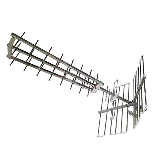 TRIX28 - Antenna TV UHF a Tripla Culla da 28 Elementi, Antenna UHF da Esterno Guadagno 17dB, Antenna TV Ricezione Canali UHF, Antenna Tv 21 60 a 28 Elementi con Trattamento ANTICORODAL