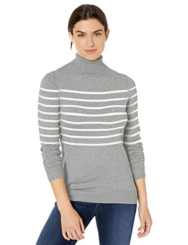 Amazon Essentials Lightweight Turtleneck Sweater pullover-sweaters, Light Grey Heather/White Placed Stripe, US M (EU M - L)