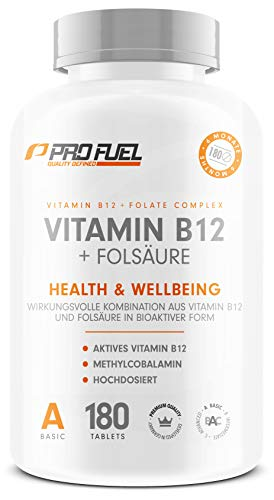 VITAMIN B12 Depot • 1000µg + FOLSÄURE • 400µg | 12 Monatspackung | Methycobalamin | Quatrefolic® | Made in Germany | 100% vegan | Kleine Tabletten