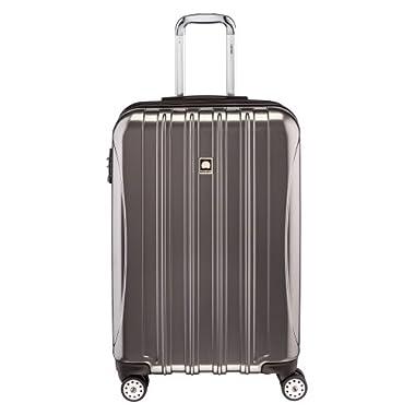 Delsey Luggage Helium Aero, Medium Checked Luggage, Hard Case Spinner Suitcase, Titanium
