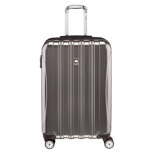 DELSEY Paris Helium Aero Hardside Expandable Luggage with Spinner Wheels, Titanium, Checked-Medium 25 Inch