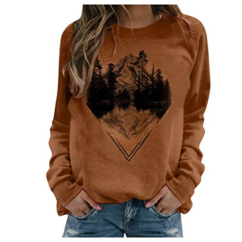 LUOMIO Womens Loose Crewneck Sweaters Casual Long Sleeve Basic Ribbed Knit Jumper Pullover Tops Oversized Winter Sexy Brown