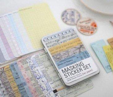 Marrywindix Washi-Nastro decorativo 27 fogli Corea Pretty Sticker-Set di adesivi di carta, di carta colorato, 65 x 100