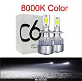 Voiture Ampoules LED 8000k Bleu Glace H7 Led 12000lm Mini Ampoules De Phare De Voiture H4 Led H11 H1 9012 Kit De Phares 9005 Hb3 9006 Hb4 Cob Auto Led Lampes 9007 / HB5 Hi/Lo 8000K