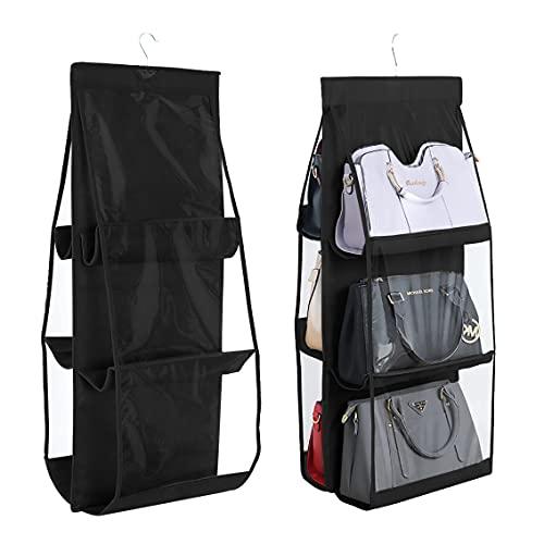 INHEMI Handtaschen Organizer, Hängend Handtaschen Aufbewahrung mit 6 Taschen,Vliesstoff, Transparentes Fenster, Aufbewahrungstasche, Hängeorganizer- Schwarz