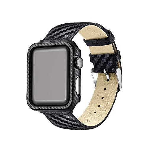 KUMARS Cinturino per Apple Watch, Apple Watch Custodia (PC), Apple Watch Orologio Braccialetto Orologio (Fibra di Carbonio), in Fibra di Carbonio, per 38 mm/42 mm Apple Watch Series 3/2/1 (38 Hei)