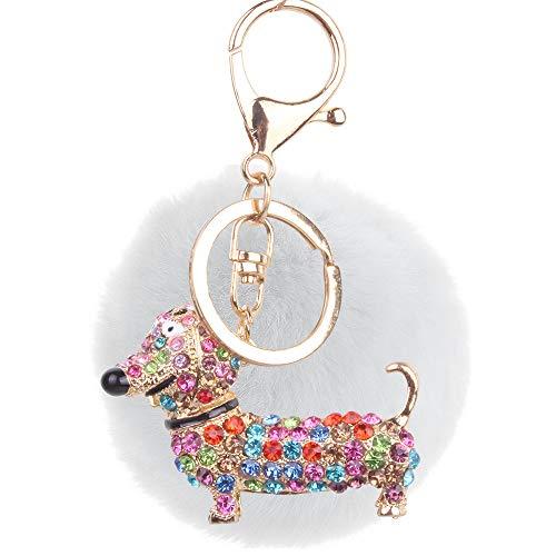 Lindo Llavero Corgi Dog Diamond Cartoon Puppy Llavero Regalo Blanco