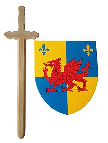 Idena 40031–matadragones Juego para niños, espada y escudo, madera