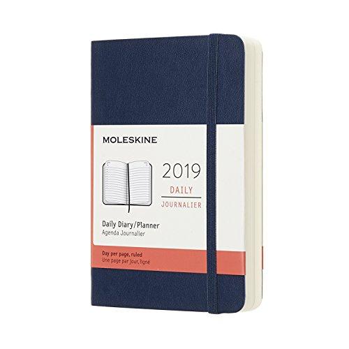 Moleskine Tageskalender, 12 Monate, 2019, Pocket/A6, Soft Cover, Saphir (AGENDA 12 MOIS)
