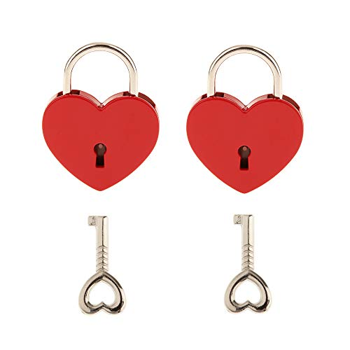 2 Pieces Small Metal Heart Shaped Padlock Mini Lock with Key for Jewelry Box Storage Box Diary Book,Red