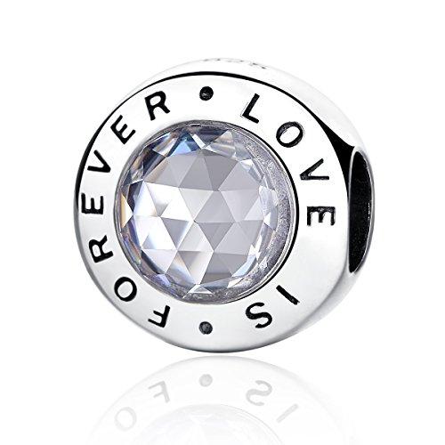 Abalorio de plata de ley 925 y circonia cúbica transparente con la inscripción «Love is forever» compatible con las pulseras europeas y con Pandora