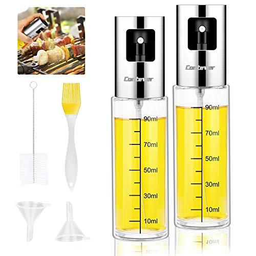 Ölsprüher Flasche, 2 Stück Öl Sprayer, Transparent Essig spritzer Ölspender, 100ml Öl Sprühflasche Auslöser für Grillen, Salat Machen, Kochen, BBQ