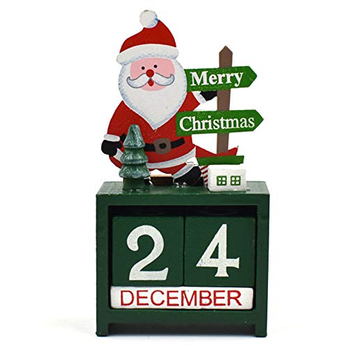NOVMAY Christmas Countdown Calendar Wooden Blocks Perpetual Desk Calendar Reindeer Snowman Santa Retro Christmas Handmade for Home Office Decoration (Santa)