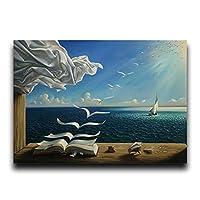 波ブックヨットことでサルバドール・ダリキャンバスリビングルームのインテリアのための風景ポスターとプリントウォールピクチャー絵画 (Color : FB515 A, Size : 30X45cm Unframed)