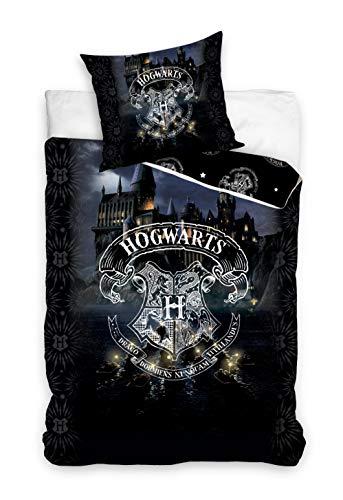 Familando Juego de cama reversible Harry Potter de 135 x 200 cm y 80 x 80 cm, 100% algodón, color negro, tamaño alemán