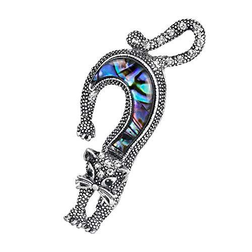 DaoRier Gato Broches Vintage Artificial Broche Pin Manualidades de Ropa Vestidos Bolsos Fiesta Size 6.7×3.2cm