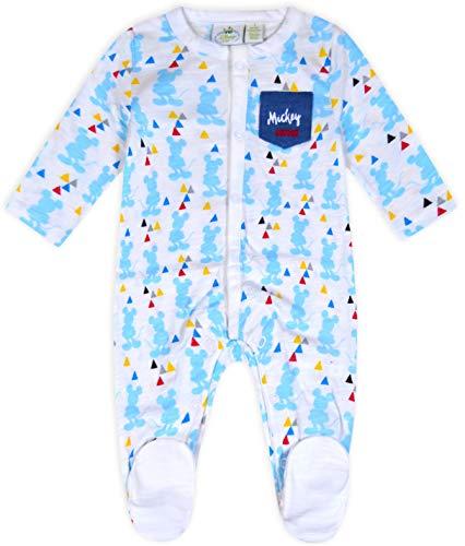 JollyRascals Baby-Strampler für Jungen, Micky Maus, Baumwolle, Schlafanzug, für Kinder im Alter von NB-18 Monaten Gr. 18 Monate, weiß