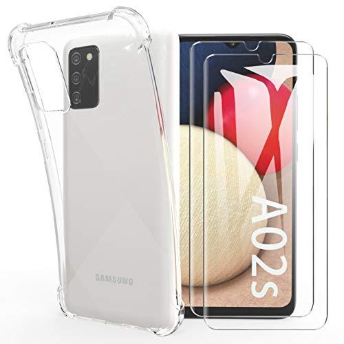 HTDELEC Funda Samsung Galaxy A02s + [2 Pack] Cristal Templado Protector de Pantalla,Ultra Fina Silicona Suave TPU Gel Transparente Carcasa Airbag Cover Samsung Galaxy A02s