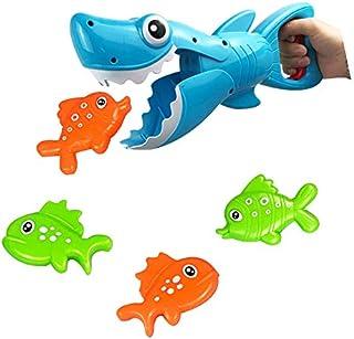 Baby Bathtub Shark Toy Blue Shark with Biting Teeth Includes 4 Fish Bath Toys for Boys and Girls Cofemy