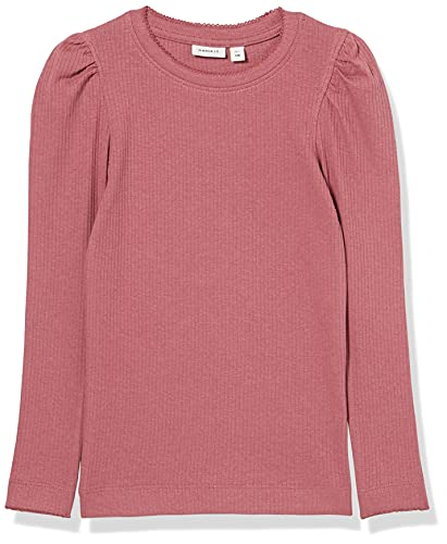 NAME IT NMFKABEXI LS Slim Top Noos Camiseta, Rosa Decorativa, 86 cm para Niñas