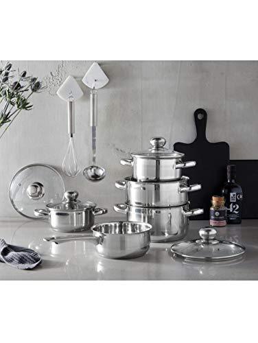GSW Batería de cocina Silver Star de 11 piezas, Acero Inoxidable y Cristal, plata