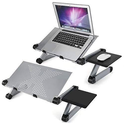 IGOSAIT Mesa de aleación de aluminio para ordenador portátil, ajustable, plegable, portátil, para estudiantes, dormitorio, portátil, mesa, soporte para sofá, cama, mesita de noche (color HHH3468LFSI)