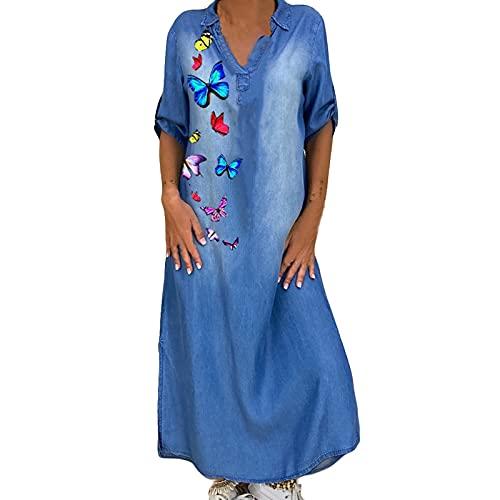 OVERMAL Vestiti Jeans Donna Estivo Vestito Camicia Maniche Corte Estate Blu Casual Abito Scoll A V Camicia Abiti Lunghi Denim