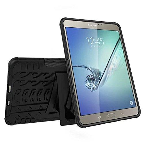 Galaxy Tab S2 Hülle,SUNWAY Hybrid 2 In 1 Kick Ständer Robust Stark Stark [Hohe Schlagfestigkeit] Stoßfest Hart Silikon Gummi Dual Layer Schutzhülle für Samsung Tab S2 8,0 Zoll T710 / T715, Schwarz