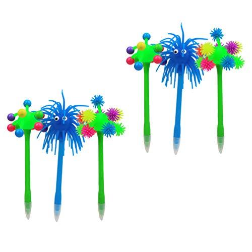 STOBOK 6 bolígrafos divertidos con forma de bola de pompón, bolígrafos de tinta de gel para la escuela, oficina, Año Nuevo, fiestas, favores al azar