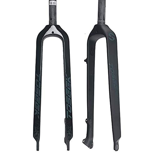 KPZZ MTB Rigid Front Fork 26/27.5/29' Disc Brake Carbon Mountain Bike Fork,28.6mm Threadless Straight Tube Superlight Bicycle Front Forks Expander Top Cap,27.5