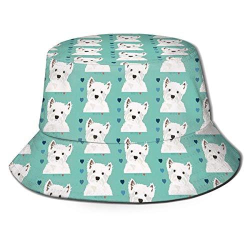 SDFRG Eimer Hut West Highland Terrier Unisex Packbar UV-Schutz Outdoor Sommer Angelkappe Sonnenhut