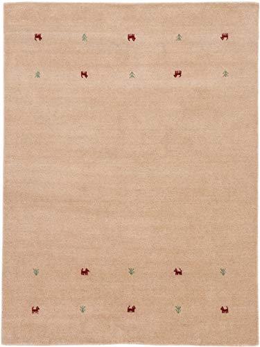 carpetfine Wollteppich Gabbeh Uni Beige 140x200 cm | Moderner Teppich für Wohn- und Schlafzimmer