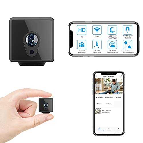 Hidden Camera with Audio Live Feed WiFi, Mini Spy Camera with Audio, Jayol HD 4K Wireless Hidden Live Stream, Night Vision and Motion Activated Spy Cam Nanny Cam, Security Camera for Home and Outdoor