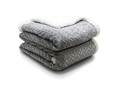 ATRAVIMO® Decke Kuscheldecke Wohndecke in Grau | Home & Living Blanket Sofadecke Comfort Plus mit weichem Lammfell und Microfaser, durch hohe Dichte 280g/m² warm und flauschig 150x200cm